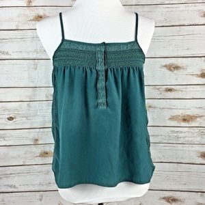 Pins and Needles Lace Trim Teal Boho Top S